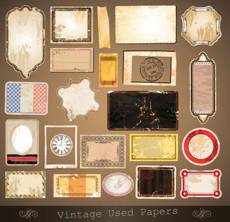 Vintage used papers and labels - A collection of different distressed retrò labels with several shapes and liquid drops on every surface.