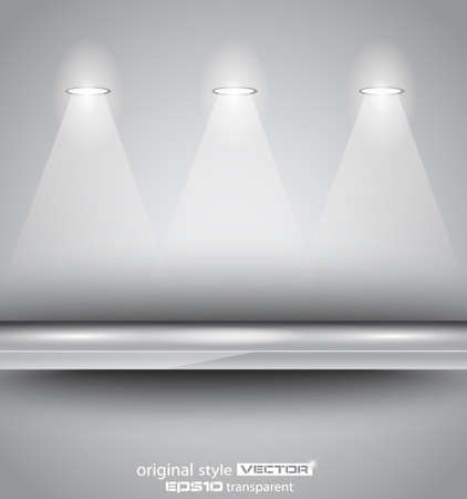 Shelf with LED spotlights with delicate look on a grey gradeientwallpaper. Shadows are transparent. Vector