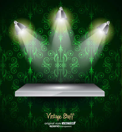 featuring: Shelf with 3 LED spotlights with old dirty look on a vintage seamless wallpaper. Shadows are transparent.