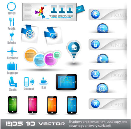 Collection of useful web stuffs: food and restoration icons, phones, tablet, buttons, pins, corner tags and so on Stock Vector - 13300085