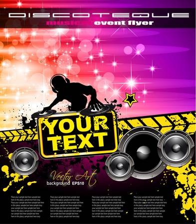 Poster Background for music international disco event with rainbow colours, abstract design elements and a lot of stars!