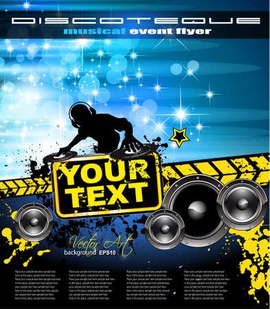 Resumen de música de fondo colorido evento con forma de disco Jockey para Flyers Discoteca Ilustración de vector