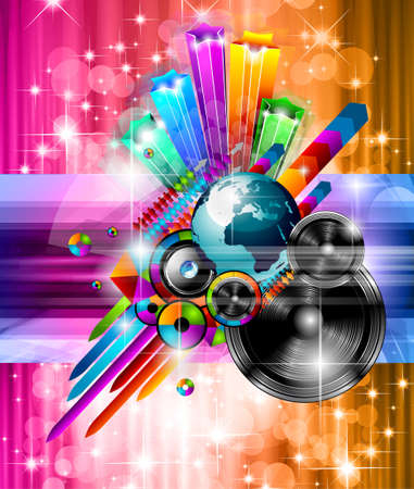 Poster Background for music international disco event with rainbow colours, abstract design elements and a lot of stars  Illustration