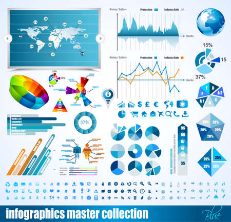 histogram: Premium infographics master collection  graphs, histograms, arrows, chart, 3D globe, icons and a lot of related design elements  Illustration