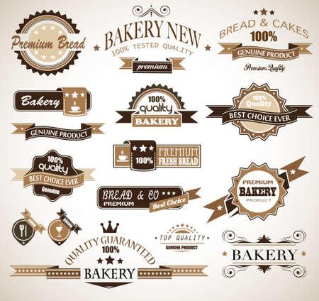 pain frais: Premium collection d'�tiquettes sur le th�me de boulangerie style vintage beaucoup de styles et de formes diff�rentes ayant un lieu pour votre texte Illustration