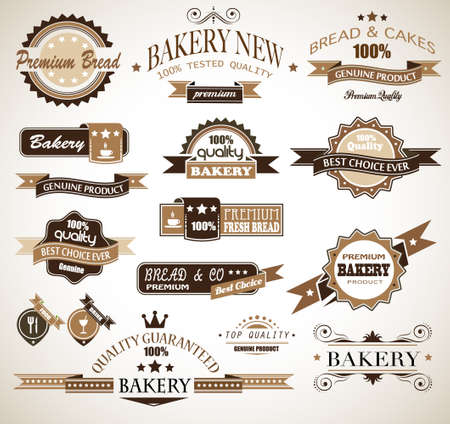 Premium collection of Bakery themed vintage style labels  A lot of different styles and shapes with place for your text  Vector