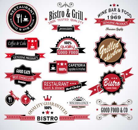 Premium quality collection of Restaurant, bistro and food   co labels with different styles and space for text  Vector