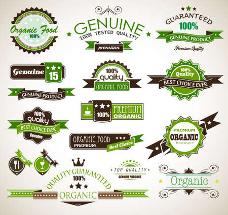 Organic and Genuine product premium labels  Many different style with space for your text  Vector