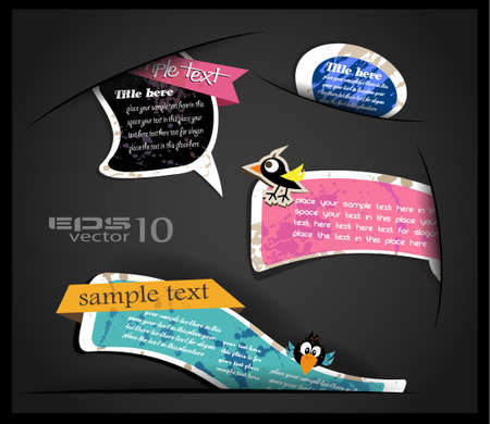 cip: Vintage Sticker Bubble speech coming out from a hole with transparent shadows  Ready to copy and paste on very surface