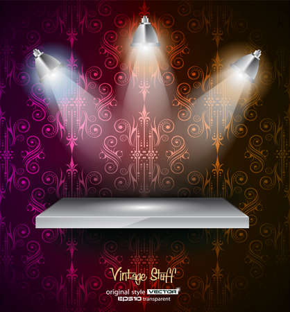 Shelf with LED spotlights with delicate look on a grey gradeientwallpaper  Shadows are transparent Stock Vector - 13300065