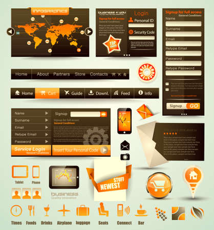 Web Stuff Collection  icons,headers,footers,login forms, paper tag with transparent shadows  Vector