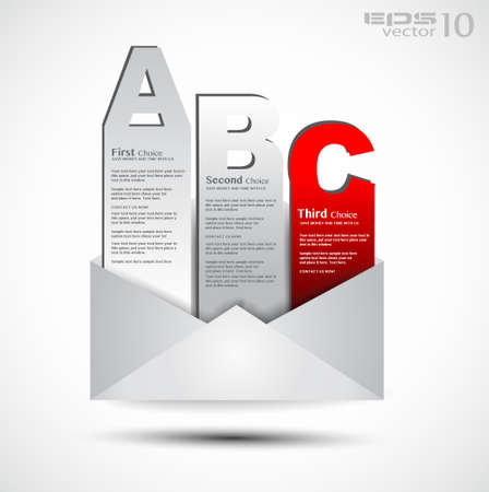 Postcard  men� with 3 choices  Ideal for web usage, depliant for product comparison or business presentation  Vector