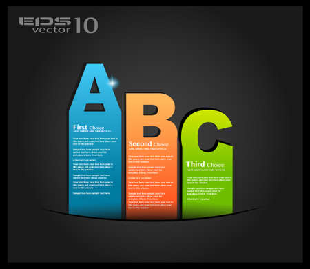 Postcard  menù with 3 choices  Ideal for web usage, depliant for product comparison or business presentation Stock Vector - 13316634