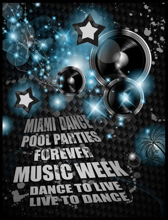 Alternative Discoteque Music Flyer for   Miami night clubs and music events Vector