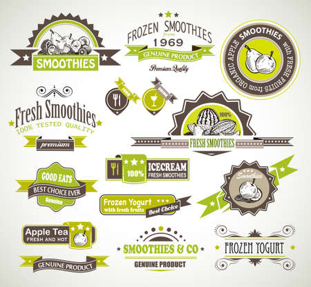 frozen fruit: Premium quality collection of Fruits Smoothies, Tea and frozen yogurt labels with different styles and space for text  Illustration