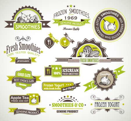 batidos de frutas: Prima la calidad de la recogida de frutas, batidos de t� y las etiquetas de yogur congelado con diferentes estilos y el espacio para el texto