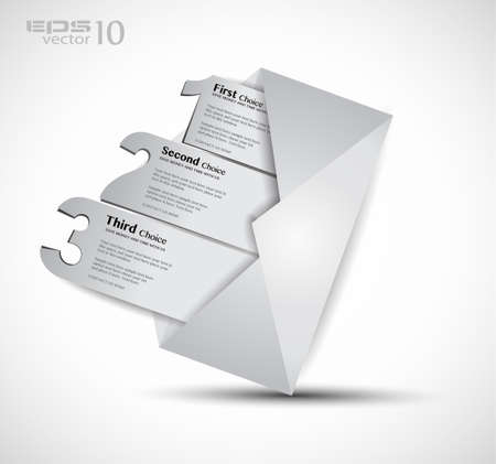Postcard  menù with 3 choices  Ideal for web usage, depliant for product comparison or business presentation  Vector