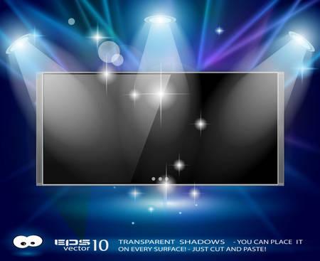 spotlight lamp: Faretti magici con i raggi blu e l'effetto luminoso che caratterizzano un pannello tv cinema Ogni luci e ombre sono trasparenti Vettoriali