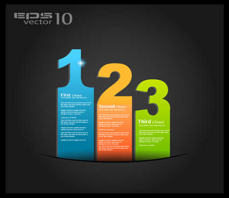 Origami option menù with 3 choices Ideal for web usage, depliant for product comparison or business presentation