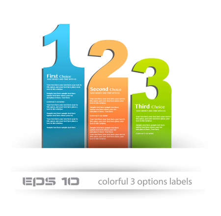 Paper style labels with 3 choices. Ideal for web usage, depliant for product comparison or infographics or business presentation. Stock Vector - 13384046