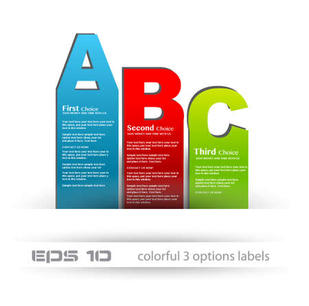 Paper style labels with 3 choices. Ideal for web usage, depliant for product comparison or infographics or business presentation. Stock Vector - 13384049