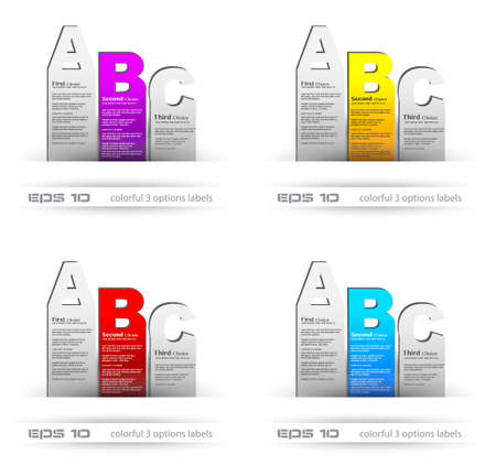 Paper style labels with 3 choices. Ideal for web usage, depliant for product comparison or infographics or business presentation. Stock Vector - 13384110