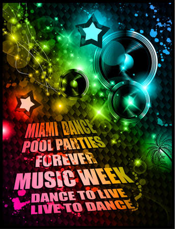 Alternative Discoteque Music Flyer for Miami night clubs and music events Vetores