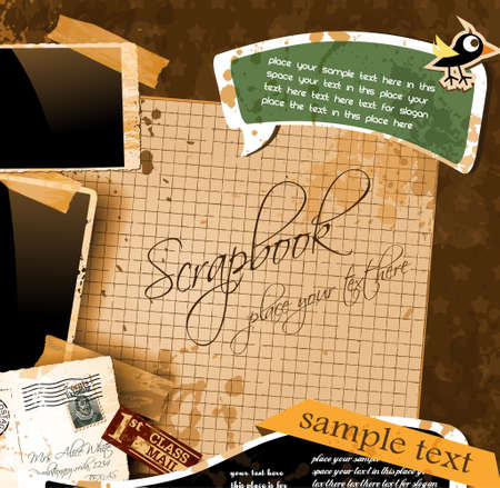 yellowed: Vintage scrapbook composition with old style distressed postage design elements and antique photo frames plus some post stickers. Illustration