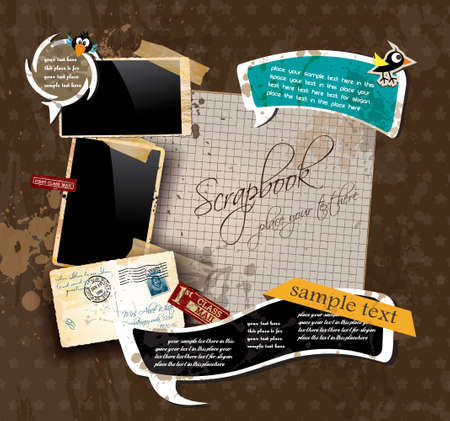 Vintage scrapbook composition with old style distressed postage design elements and antique photo frames plus some post stickers. Illustration