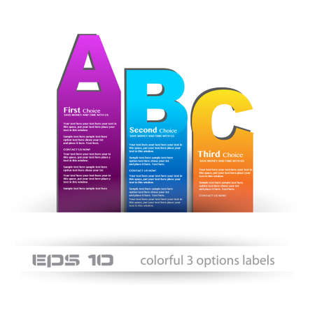Paper style labels with 3 choices. Ideal for web usage, depliant for product comparison or infographics or business presentation. Stock Vector - 13384120