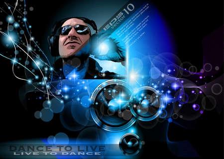 flyer musique: Flyer Alternative Musique Discoth�que pour les clubs de nuit de Miami et des �v�nements musicaux. Illustration