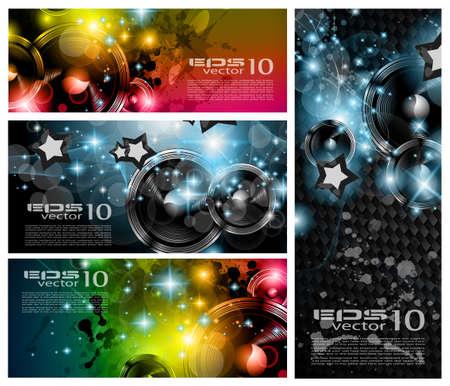 Music Club banners voor disco dance internationaal evenement met veel design elementen. Ideaal voor posters, flyers en reclamepanelen.