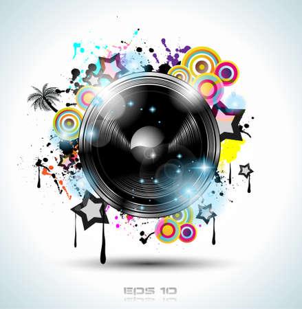 Fond Music Club pour danse disco événement international avec beaucoup d'éléments de conception. Idéal pour des affiches, des dépliants et des panneaux publicitaires. Vecteurs