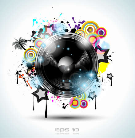 Music Club background for disco dance international event with a lot of design elements. Ideal for posters, flyers and advertising panels. Stock Vector - 13384131