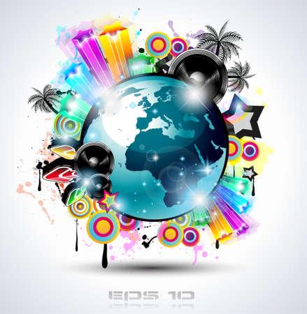 Music Club background per eventi internazionali di dance dance con molti elementi di design. Ideale per poster, volantini e pannelli pubblicitari.
