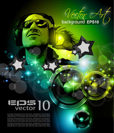 discoteque: Alternative Discoteque Music Flyer for   Miami night clubs and music events.  Illustration