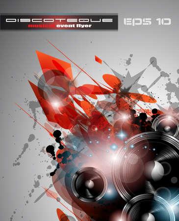 club: Musica di sottofondo per l'evento Club Disco Dance internazionale, con un sacco di elementi di design. Ideale per manifesti, volantini e cartelloni pubblicitari. Vettoriali