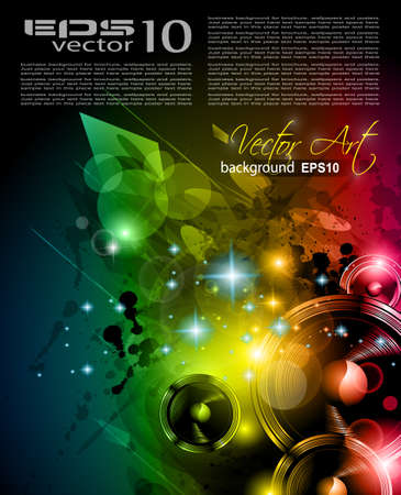 Music Club background for disco dance international event with a lot of design elements. Ideal for posters, flyers and advertising panels. Vector