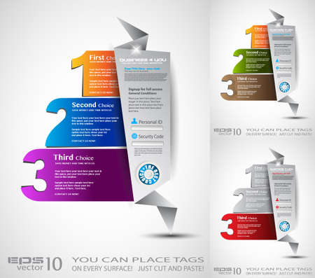 Origami option menu with 3 choices. Ideal for web usage, depliant for product comparison or business presentation. Vector