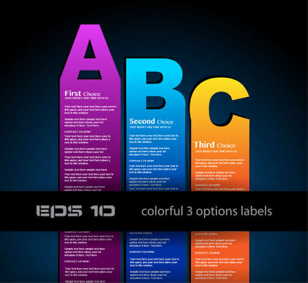 Paper style labels with 3 choices  Ideal for web usage, depliant for product comparison or infographics or business presentation  Stock Vector - 13640181