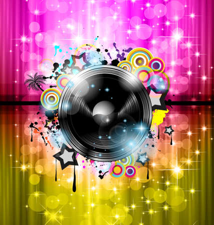 Music Club background for disco dance international event with a lot of design elements  Ideal for posters, flyers and advertising panels  Vector