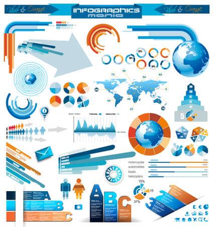 szigetelés: Premium infographics Master Collection grafikonok, hisztogram, nyilak, chart, 3D-s földgömb, ikonok és sok kapcsolódó tervezési elemek Illusztráció