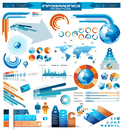 Premium infographics master collection  graphs, histograms, arrows, chart, 3D globe, icons and a lot of related design elements  Vector
