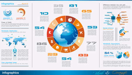 graphics: infographics pagina met veel design elementen zoals grafiek, globe, pictogrammen, afbeeldingen, kaarten, taarten, menselijke vormen en ga zo maar door