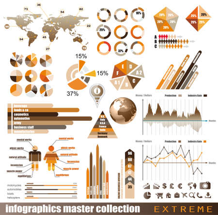Premium infographics master collection  graphs, histograms, arrows, chart, 3D globe, icons and a lot of related design elements  Illustration