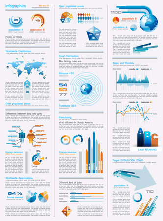 with sets of elements: infographics page with a lot of design elements like chart, globe, icons, graphics, maps, cakes, human shapes and so on  Ideal for business analisys rapresentation  Illustration