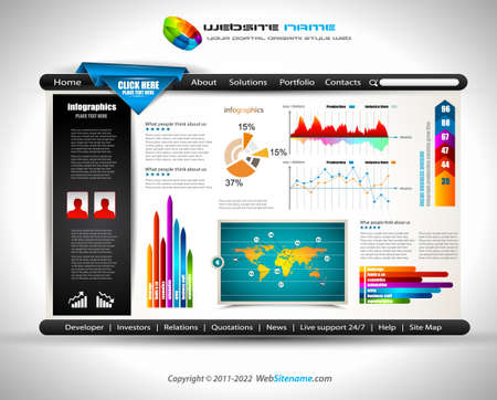 footer: Hitech Website - Elegant Design for Business Presentations  Template with a 3 side choices panel  Transparent shadows  Illustration