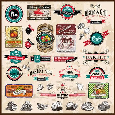 buena salud: Cobro de la prima la calidad del restaurante Vintage, bistro y etiquetas de los alimentos compa�eros con diferentes estilos y el espacio para el texto