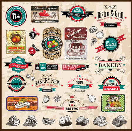 food label: Premium quality collection of Vintage Restaurant, bistro and food   co labels with different styles and space for text
