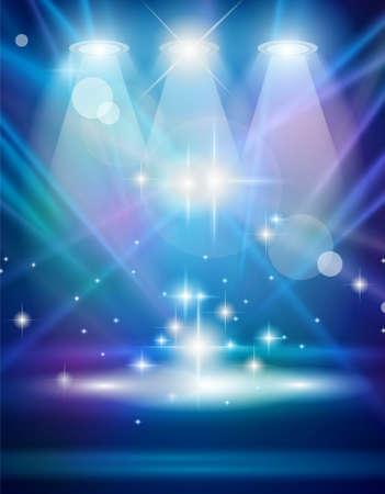 Focos de magia con los rayos azul y el efecto que brilla intensamente para las personas o publicidad de productos Cada luces y sombras son transparentes